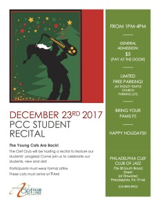 PCC Student Recital Flyer December 2017